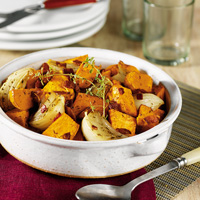 Roast Herbed Sweet Potatoes with Bacon & Onions