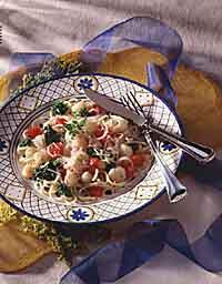Broccoli, Scallop and Linguine Toss