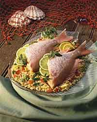 Red Snapper with Brown Rice and Tomato Stuffing