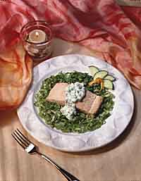 Chilled Poached Salmon with Cucumber Sauce