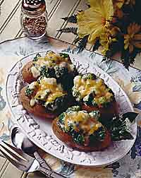 Broccoli and Cheese Topped Potatoes