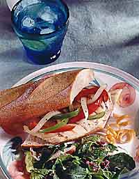 Grilled Chicken Breast and Peperonata Sandwich