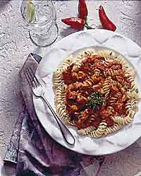 Cajun Grilled Shrimp with Rotini and Roasted Red Pepper Sauce