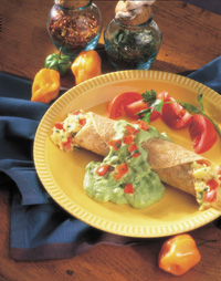 Mexican Omelet Roll-Up with Avocado Sauce