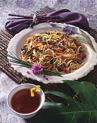 Mixed Vegetables with Noodles and Beef (Chap Ch'ae)