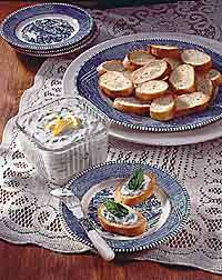 Herbed Blue Cheese Spread with Garlic Toasts