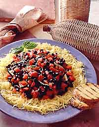 Spaghetti Squash with Black Beans and Zucchini