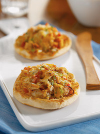 Hot Crab and Cheese on Muffins