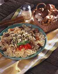 Grilled Squid with Pasta and Mushrooms
