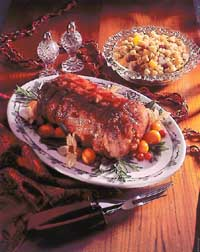 Glazed Roast Pork Loin with Cranberry Stuffing