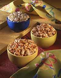 Clockwise from top: Italian Popcorn, Cinnamon Caramel Corn and Cajun Popcorn