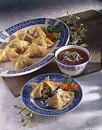 Apricot-Chicken Pot Stickers