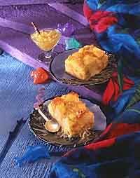 Tropical Bread Pudding with Piña Colada Sauce