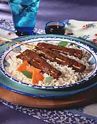 Skewered Beef Strips with Spicy Honey Glaze
