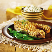 Hazelnut-Coated Salmon Steak