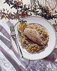 Baked Chicken and Garlic Orzo