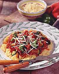 Polenta with Pasta Sauce & Vegetables