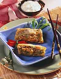 Asian Asparagus Rolls with Salziki Sauce