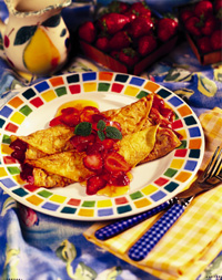 Strawberry Crêpes with Orange Marmalade Sauce
