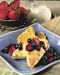 Berries with Orange Scones