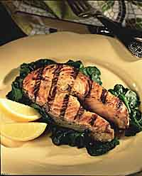 Grilled Five-Spice Fish with Garlic Spinach