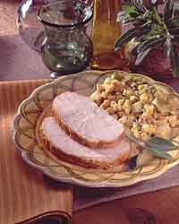 Roast Turkey Breast with Apple-Corn Bread Stuffing