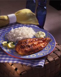 Blackened Catfish with Easy Tartar Sauce and Rice