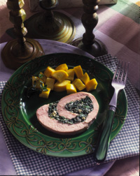 Roast Turkey Breast with Spinach-Blue Cheese Stuffing