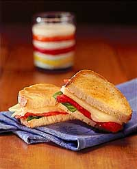 Grilled Mozzarella & Roasted Red Pepper Sandwich
