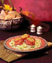 Bacon-Wrapped Scallops on Angel Hair Pasta