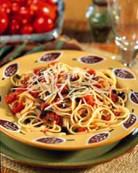 Pasta with Fresh Tomato-Olive Sauce