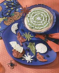 Top to bottom: Spider Web Dip, Spooky Tortilla Chips
