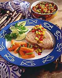 Lime-Poached Fish with Corn and Chili Salsa