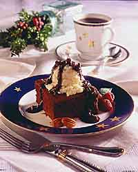 Brownie with Ice Cream and Warm Mocha Pecan Sauce
