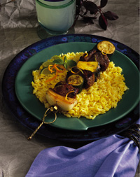 Lamb and Vegetable Kabob on Saffron Rice