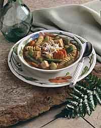 Tomato and Turkey Soup with Pesto