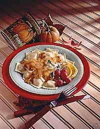 Cheese Ravioli with Pumpkin Sauce