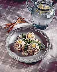 Spiced Mushroom Pecan Rice Timbales