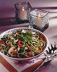 Vegetables with Spinach Fettuccine