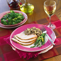 Roast Turkey Breast with Sausage and Apple Stuffing