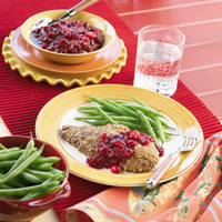 Pecan Catfish with Cranberry Compote