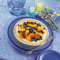 Lemon Cream Peach and Blueberry Pie