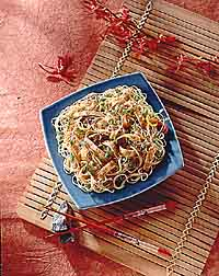 Ginger Noodles with Sesame Egg Strips