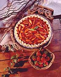 Fresh Nectarine Pie with Strawberry Topping