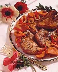 Pork Chops with Red Pepper and Sweet Potato