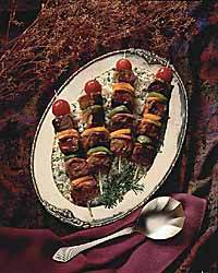 Oriental Beef Kabobs on Green Rice