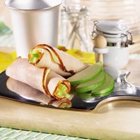 Turkey, Havarti, Dijon-style Mayonnaise and Apple Slice Roll-ups