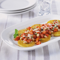 Pan-Fried Polenta with Fresh Tomato-Bean Salsa