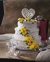 Hearts & Flowers Wedding Cake