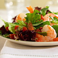 Arugula Salad with Shrimp and Spicy Tomatoes